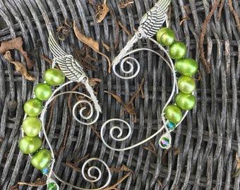 Lime Pearl Elf Ear Cuffs