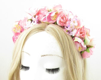 Pink Rose Blossom Flower Headband Hair Crown Boho Festival Garland Headpiece 868