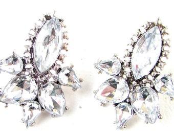Silver Art Deco Stud Earrings Great Gatsby 1920s Flapper Vintage Diamante 983