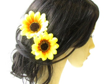 2 x Large Yellow Sunflower Flower Hair Pins Vintage Rockabilly Clip 1950s 1479