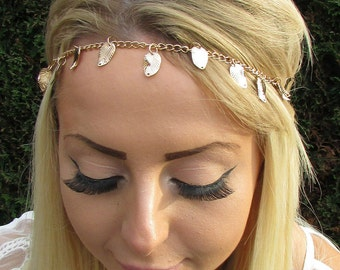 Gold Leaves Leaf Head Chain Grecian Hair Jewellery Headband Boho Festival 1691