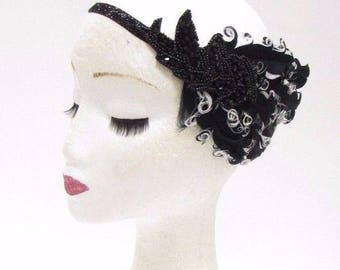 Black White Feather Headband 1920s Flapper Great Gatsby Vintage Headpiece 2769