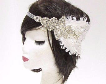 White Silver Feather Headband 1920s Flapper Headpiece Great Gatsby Vintage 2780