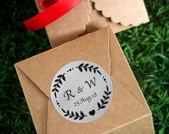 SIiver Foil Personalized Wedding Candy wrappers/ stickers for Favors / envelope seals #G