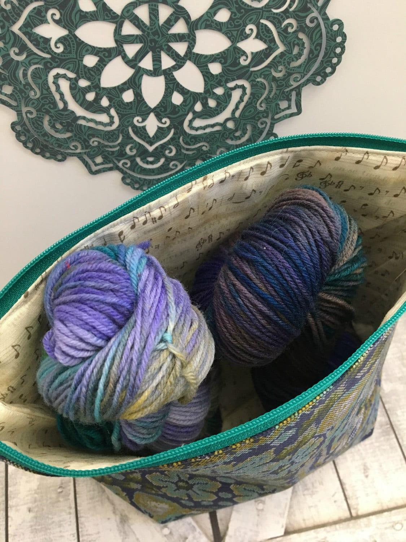 Knitting Project Bag,Sapphire Tiger wedge knitting bag,Tula Pink,Sock Project Bag,crochet project bag,knitting bag,Toad Hollow,Yarn Keeper