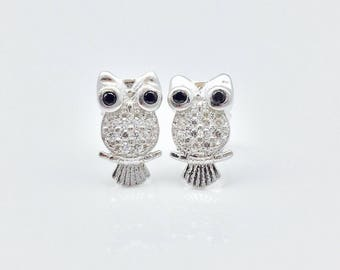 Owl Earrings // 925 Sterling Silver // Micro Pave Owl Earrings // Owl Stud Earrings
