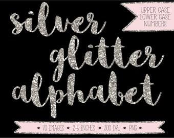 60% OFF SALE. Silver Glitter Alphabet Clipart. Glitter Numbers, Letters. Hand Drawn Silver Font. Festive Metallic Handwritten Script