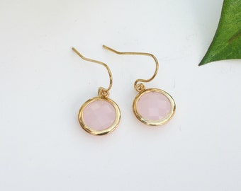 Pale pink earrings, gold and pink earrings, pink faceted glass earrings, dainty earrings, brides earrings, bridesmaid earrings, round