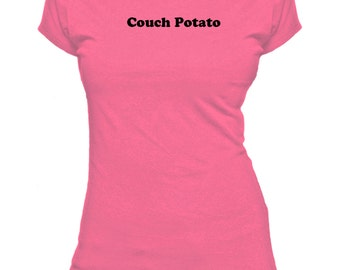 Couch Potato. Funny. Ladies fitted t-shirt.