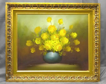 Old vintage artist signed original floral still life oil painting yellow roses flowers