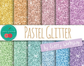 Pastel Glitter Digital Paper Pack - Glitter Paper PERSONAL and COMMERCIAL USE - Instant Download - Beautiful Digital Paper