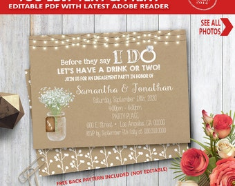 Before they say I do Invitation kraft rustic I do couples shower engagement rehearsal dinner YOU EDIT text and print yourself invite 14100