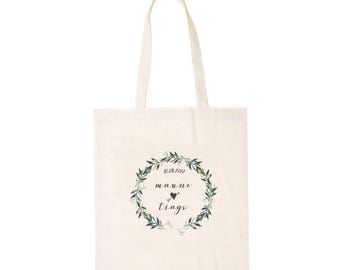 Tote bag personalized with name and date witness