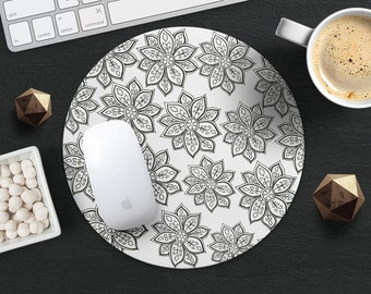 Flower MousePad Desk Accessories Design Mouse Mat Office Desk Round MousePad Teacher Gift for Her Gift for Mom Birthday Gift Floral MousePad