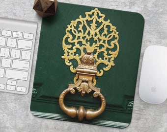 Wood Mouse Pad Gold Pattern Mouse Mat France MousePad Office Supplies Mouse Pad Gift Desk Decor Design Mouse Pad Door Knocker Green MouseMat