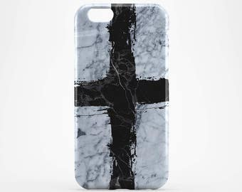 White Marble iPhone 7 Case iPhone 7 Plus Black Cross iPhone 6 Plus Case Galaxy Case iPhone SE iPhone 4-5 Case iPhone 6, Black Marble iPhone