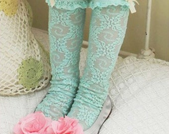 Girl's laced tube sock- Green (1 to 6 years)