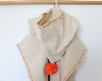 Hemp linen kids poncho towel, Orange hooded towel, Hemp bath poncho, Natural linen kids bathrobe