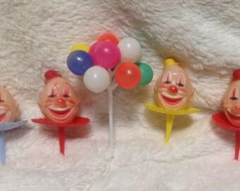 Vintage Wilton Chicago CakeToppers, Vintage Clown cake Toppers, Wilton Clown Cupcake Toppers, Vintage Cupcake Picks