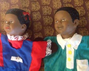 Vintage Hand Puppets, Vintage Black American Hand Puppets, Vintage Learning Resources Inc. Hand Puppets, Vintage Toys,