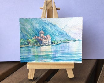 Chillon in the Morning - ATC / ACEO Original Watercolor Painting - Miniature Mini Painting - Landscape - OOAK Collectible Fine Art Card Gift