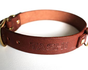 Leather Dog Collar brown and Leash Personalized