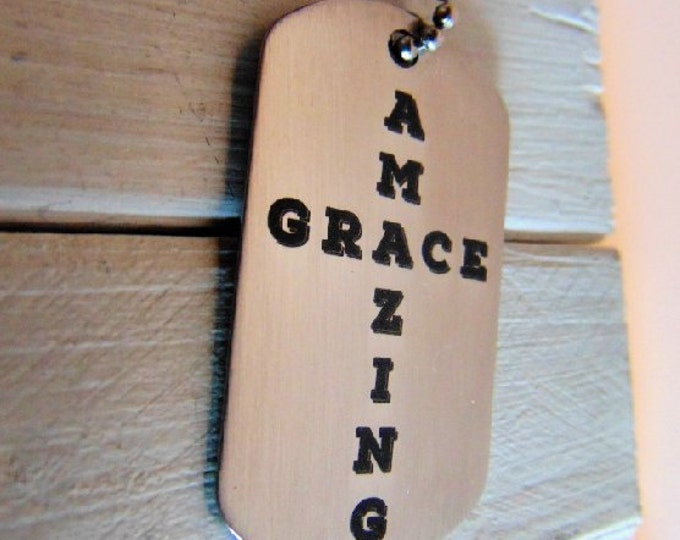 Amazing Grace Dog Tag shaped as a Cross, Stianless Steel Five Styles available, Custom message or signature on the back in your hand writing