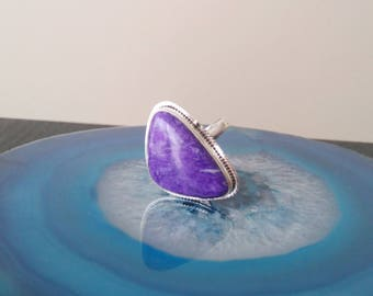 Vintage Charoite Ring / Sterling Silver, 925, Size 9 Large Purple Violet gemstone Triangle