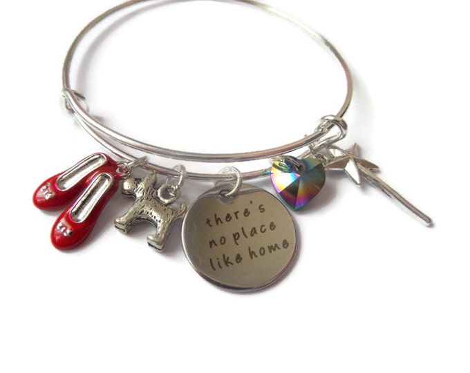 WIZARD of OZ inspired silver charm red show bracelet 65mm expandable tag bangle xmas gift No Place Like Home jewellery Uk