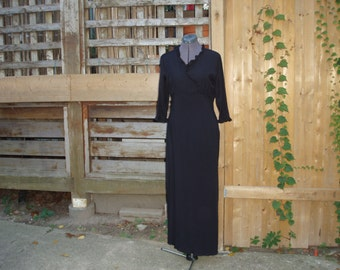 Vintage 1960's Black Fred David Full Length Evening Gown / Bridesmaid / Prom / Party Dress