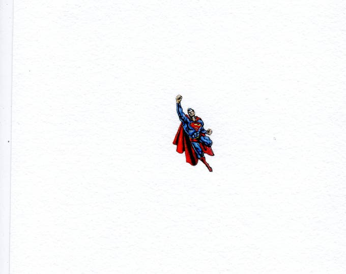 """Print of miniature painting of Superman 1 1/4 x 1 1/4"""" print of original Superman painting on 5"""" square german etching paper"""