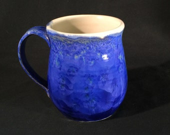 Wheel Thrown Blue Crystalline Glazed Mug