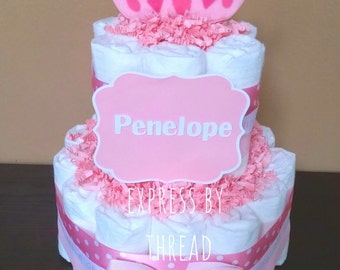 Two tier mini It's A Girl diaper cake, pink and white diaper cake, baby girl diaper cake, girl baby shower diaper centerpiece, new mom gift