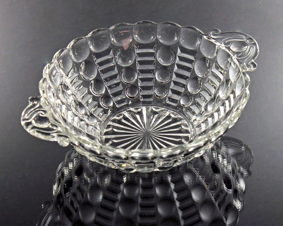 Anchor Hocking Bowl, Dots and Bars, Clear Glass, 2 Handled Bowl, Giftware