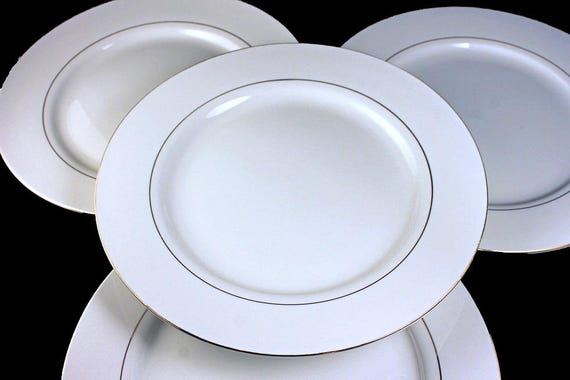 Salad Plates, Potter & Smith, White and Gold, Set of 4, Fine China