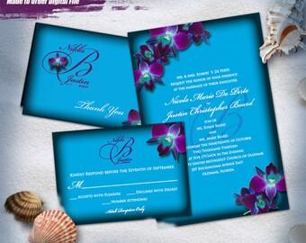 Purple Orchid Wedding Invitation Set Digital, Printable Wedding Invitation Suite, Purple Orchid Invitation Printable, Printable Invitations