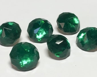 Green Vintage Glass Buttons Crystal Rhinestone Faceted Glass-6pc