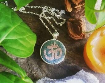 Om Symbol - Buddhist- Hinduism- cross stitch necklace