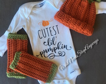 Cutest Lil Pumpkin Onesie/Bodysuit - Newborn to 12 Months, short sleeve & long sleeve available. Perfect for fall!!