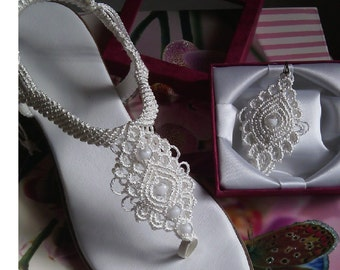 Women's Wedding Shoes, Macrame and Leather Sandals, Bohemian Sandals, Handmade sandals, Model: BIANCA