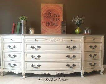 Sold French Provincial Vintage White & Grey Washed Wood Top 12 drawers
