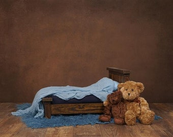 Digital Backdrop Newborn Teddy Bear Bed. One of a Kind Prop!