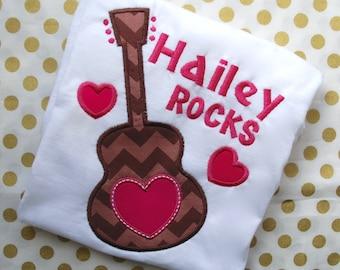 Love Rocks Guitar Shirt, Guitar Shirt, Valentines Guitar Shirt, Birthday Guitar Shirt, Girls Guitar Shirt,