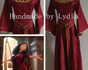 Handmade - Rapunzel Mother Gothel Costume, Mother Gothel Dress Cosplay Adult/kid Available