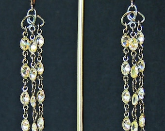 3 strand 5 mm oval cubic zirconia oxidized sterling silver chain earrings
