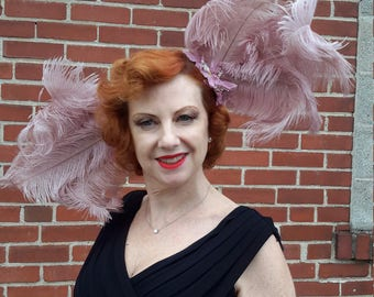 Ostrich feather showgirl hat Burlesque, Kentucky Derby, modeling, peach, mauve FREE SHIPPING from RCMooreVintage women formal hat