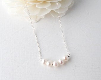 Sterling silver necklace, fresh water pearl charms, sterling silver chain.  Yumistar Uk seller