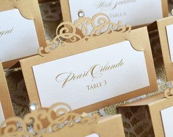 laser cut place card etsy Laser Cut Wedding Place Cards ivory and gold laser cut place card with clear crystal escort card custom placecard laser cut wedding place cards