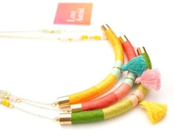 LIVELY / Tassel Necklace, Rope Necklace, Beaded Necklace, Chain Necklace, Bohemian Necklace, Boho Jewellery, Summer Neckla
