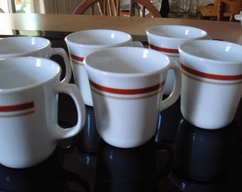 Set of 6 Chestnut /  Cinnamon Corning Coffee Cups / Mugs / Pyrex Coffee Cups